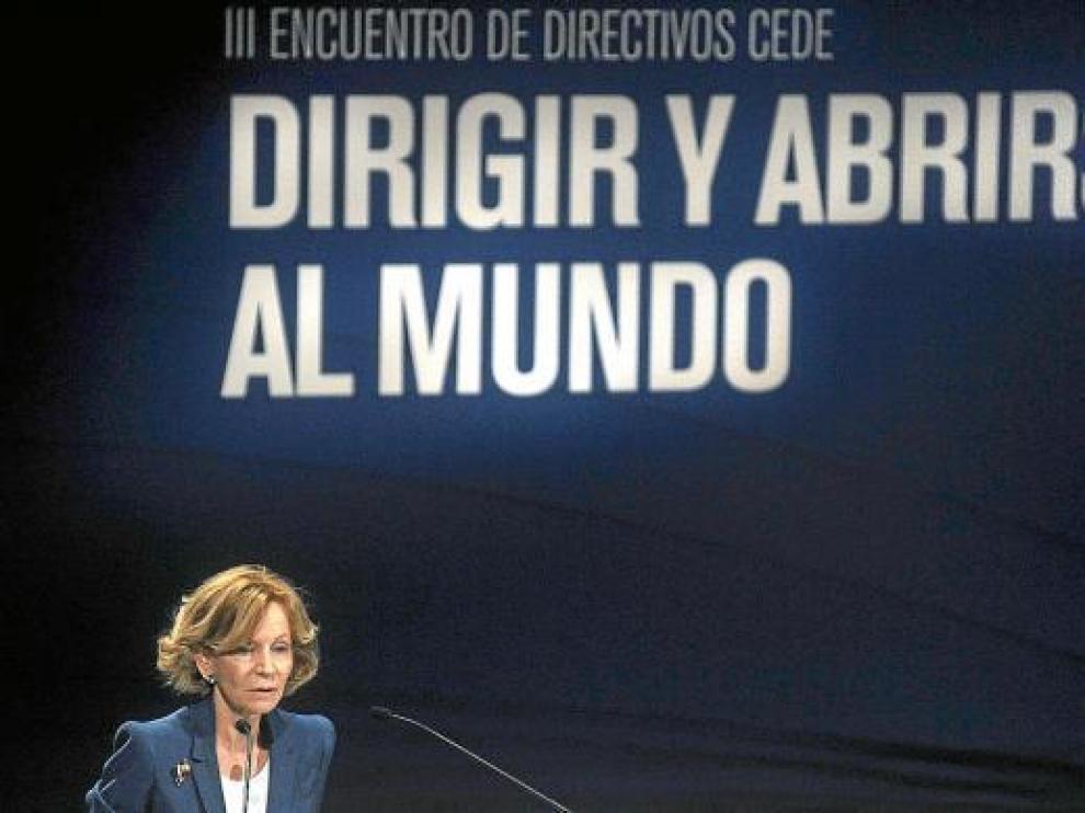 La vicepresidenta económica, Elena Salgado, ayer en un foro empresarial en Gerona.