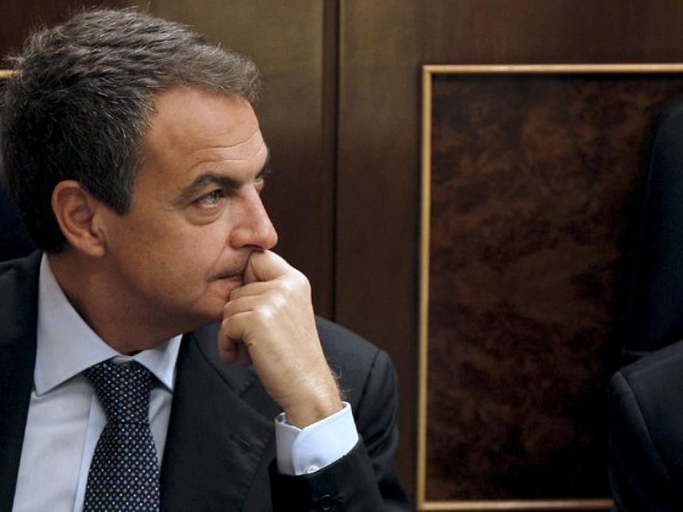 José Luis Rodríguez Zapatero, durante la sesión de control al Ejecutivo celebrada ayer en el Congreso de los Diputados.