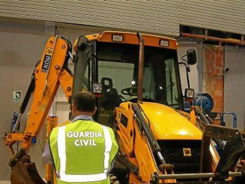 Una de las máquinas robadas y recuperadas por la Guardia Civil.
