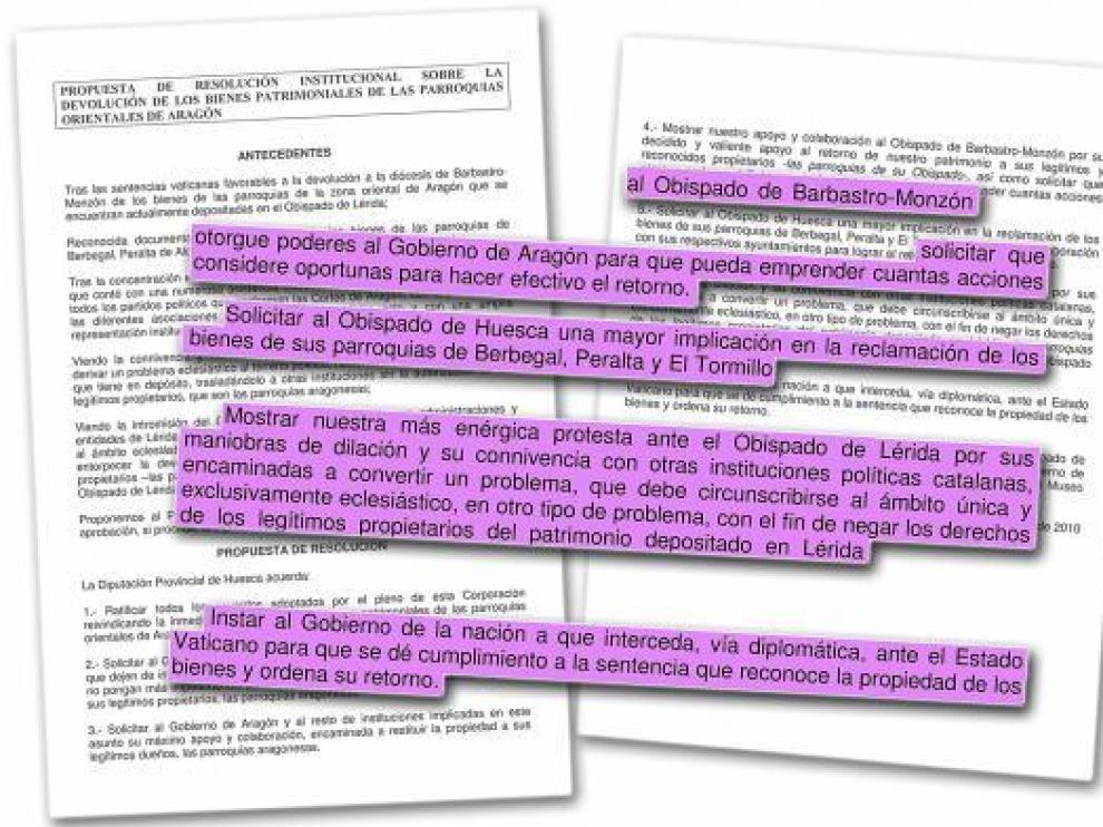La DPH exige al obispado de Huesca mayor implicación en la reclamación de los bienes
