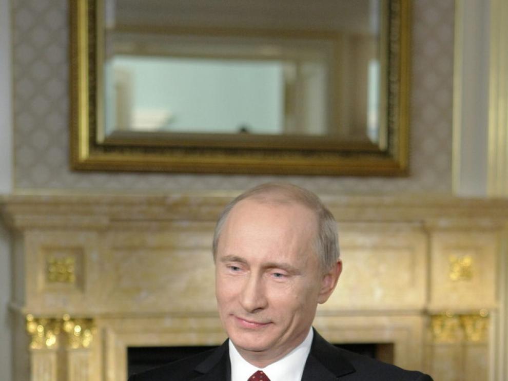 Vladimir Putin durante su entrevista con Larry King