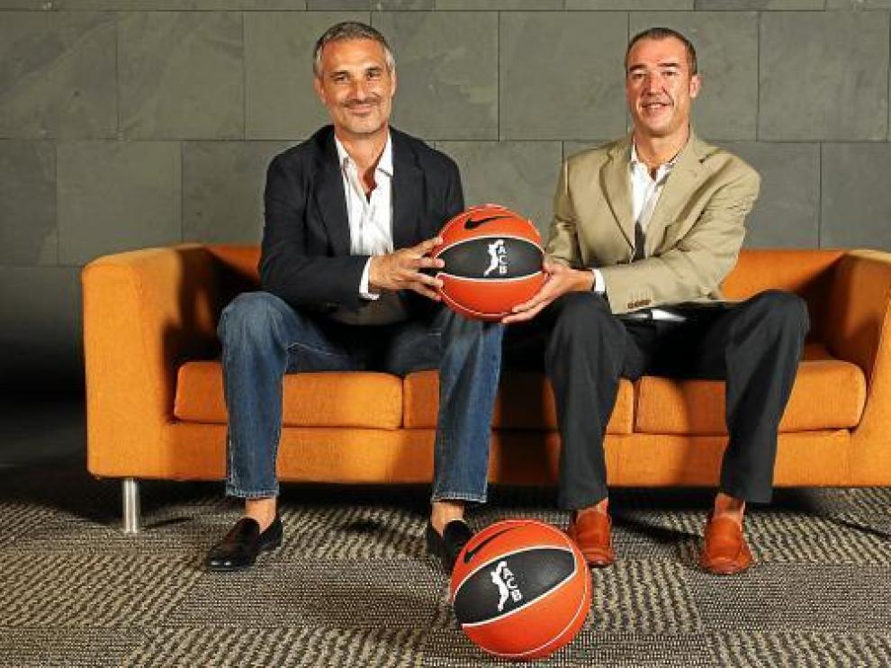 José Luis Abós y Paco Olmos posaron en la ACB pocos días antes de comenzar la liga.