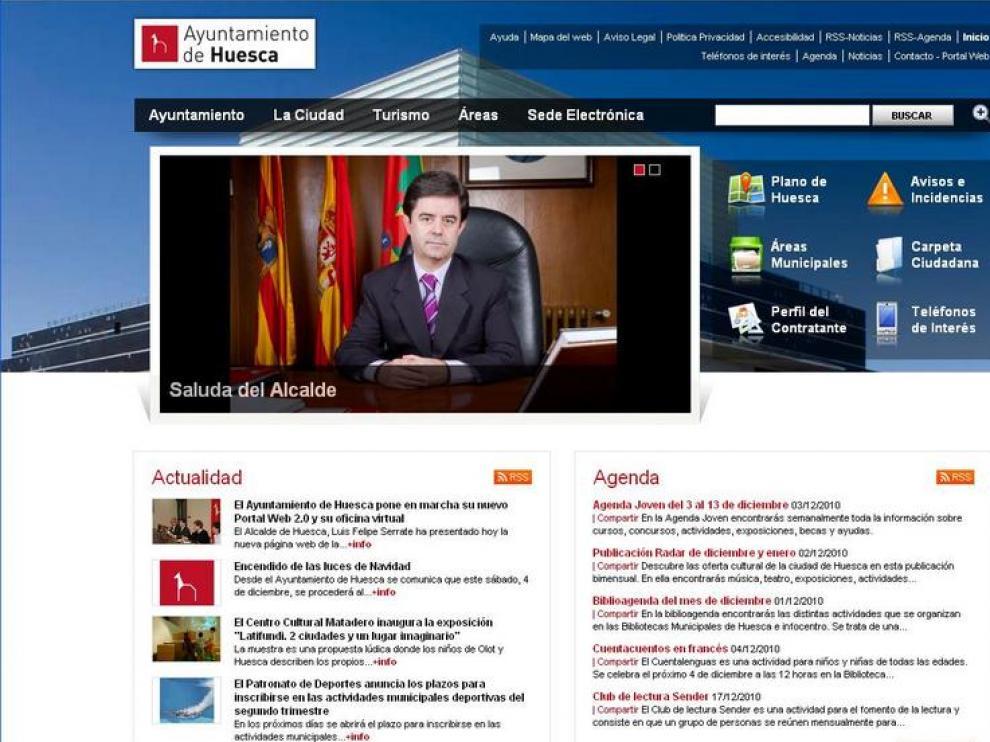 Captura de la nueva web del Ayuntamiento.