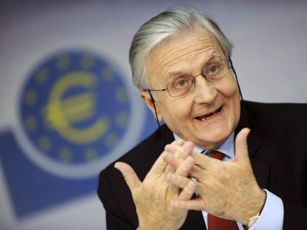 Jean-Claude Trichet, presidente del BCE, durante la rueda de prensa de hoy en Fráncfort