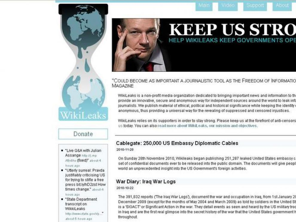 Captura de la web suiza de Wikileaks.