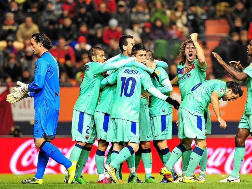 Los jugadores del Barcelona celebrando un gol.