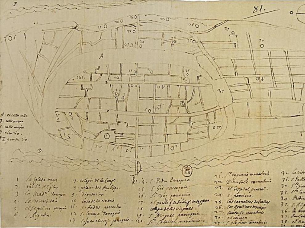 Descubierto en París el plano más antiguo de Zaragoza