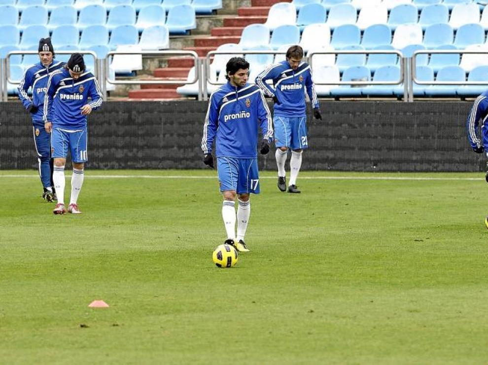 Contini, Bertolo, Lafita, Ponzio y Gabi durante el último entrenamiento llevado a cabo en La Romareda.