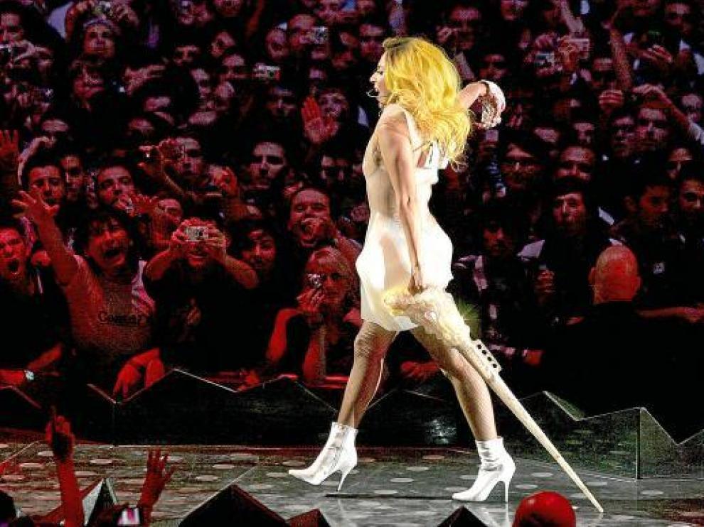 Lady Gaga, ayer durante su actuación en Barcelona.