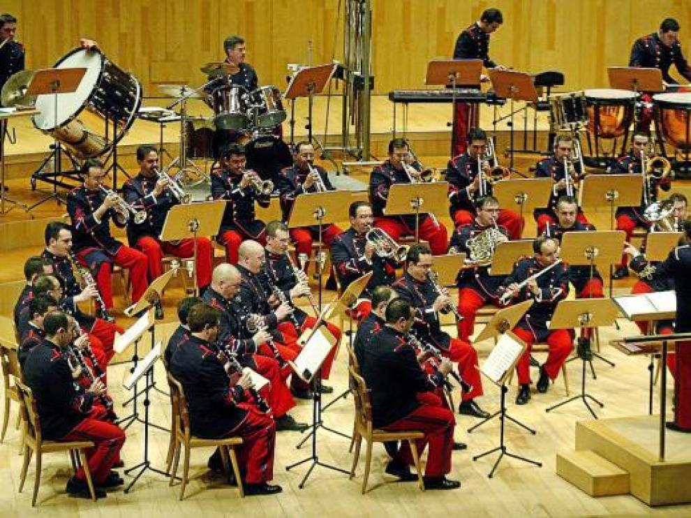 Músicos de la Academia General Militar, en una imagen de archivo tomada en el Auditorio.
