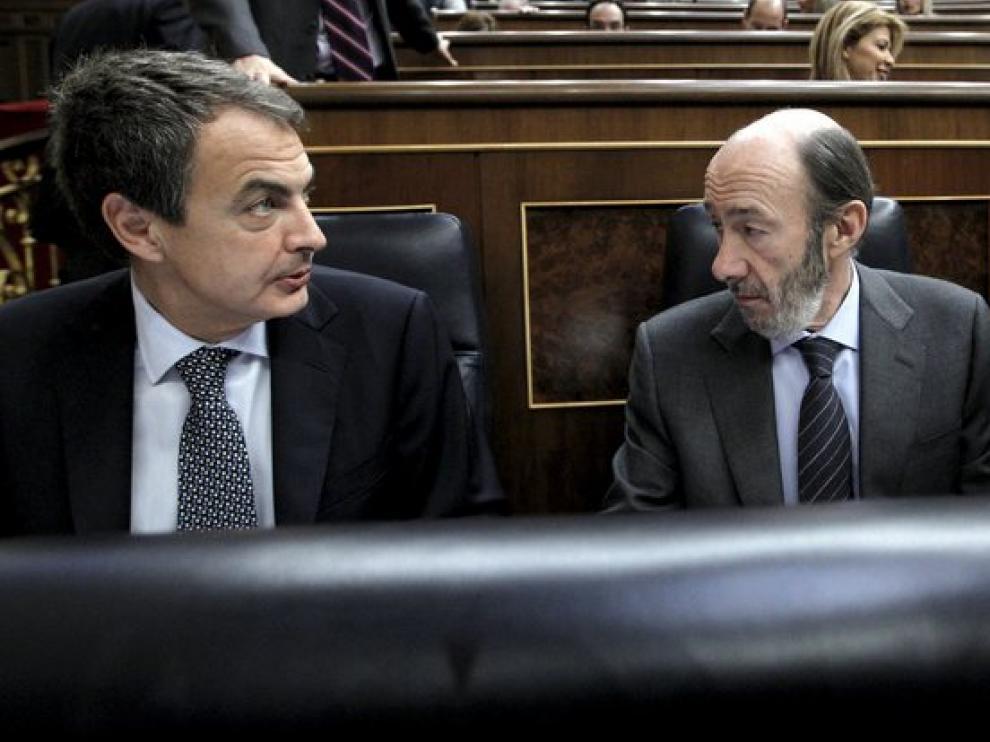 Zapatero, Rubalcaba y Salgado en el pleno del Congreso
