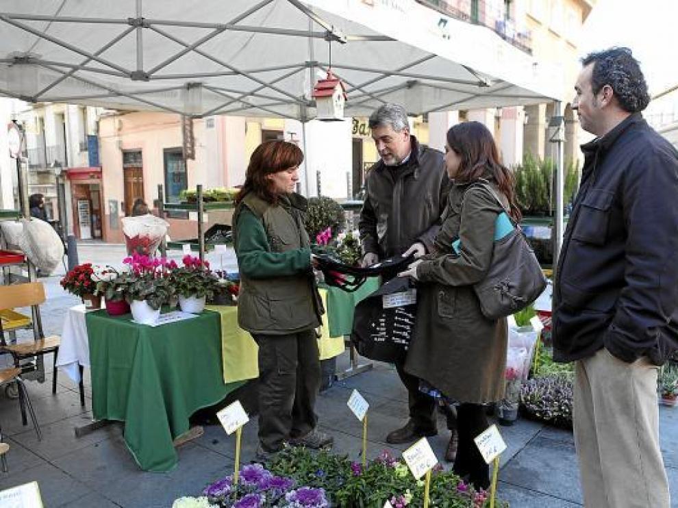 Marina Sevilla y Fernando Lafuente entregan bolsas ecológicas en el puesto de Atades Flor.