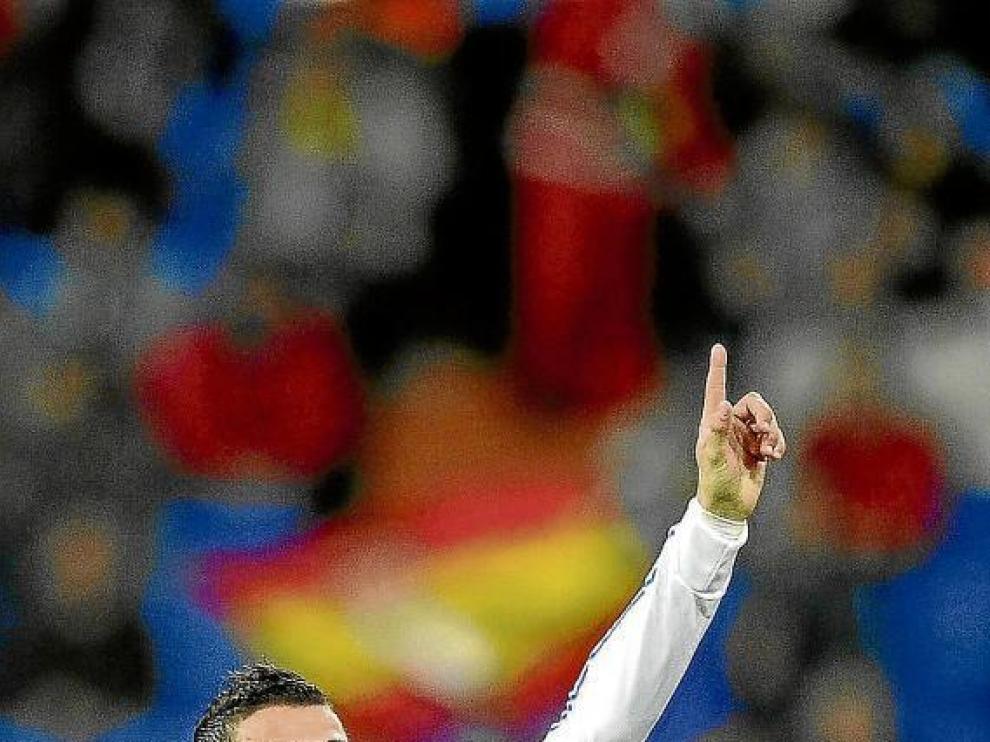 Cristiano Ronaldo celebra su gol marcado el pasado miércoles ante el Auxerre.