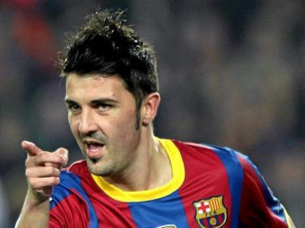 David Villa, tras anotar un gol, ayer.