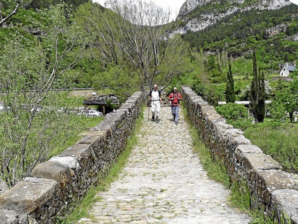 Un tramo del camino de Santiago con unos peregrinos