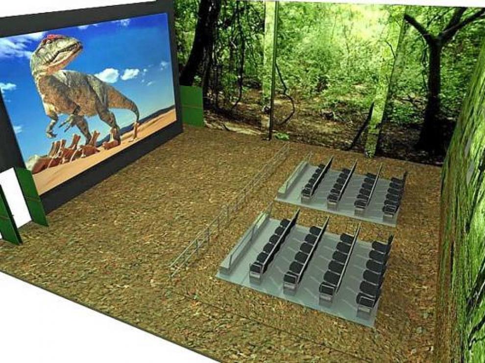 Recreación infográfica de la sala del futuro simulador virtual de Dinópolis.