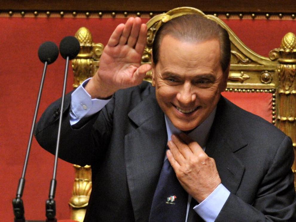 El primer ministro de Italia, Silvio Berlusconi, hoy en el Parlamento