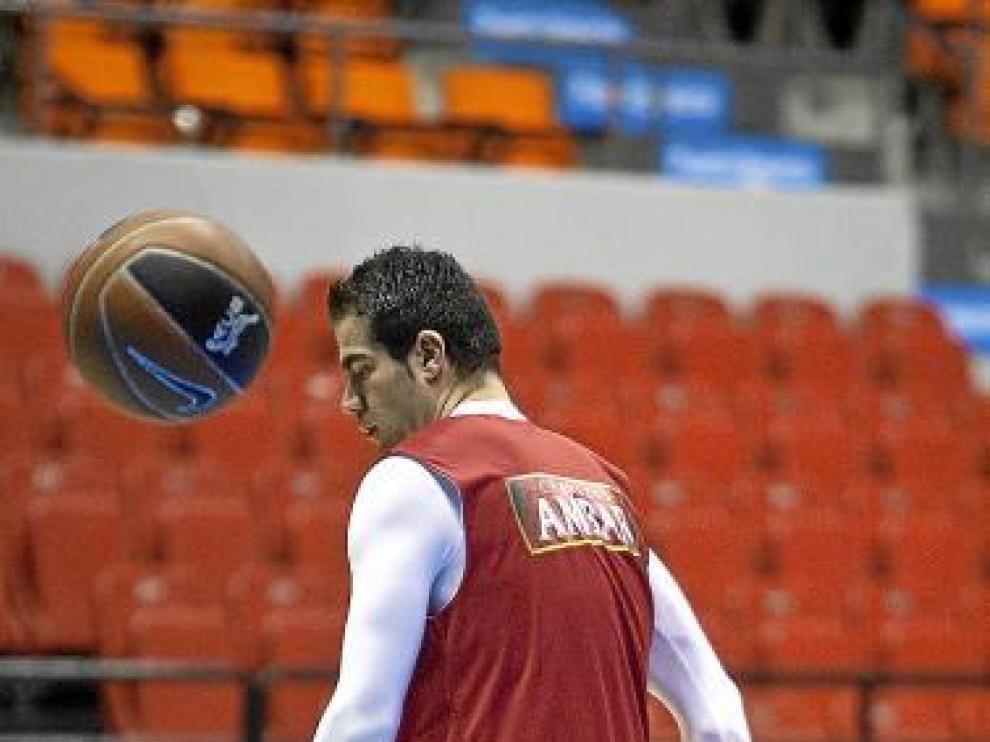Carlos Cabezas, en el entrenamiento de ayer por la tarde.