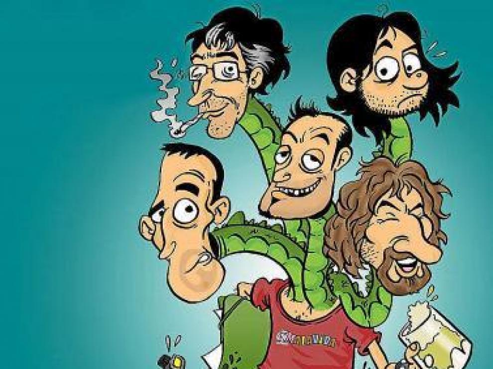 Caricatura del grupo Malavida, protagonista de una exposición.