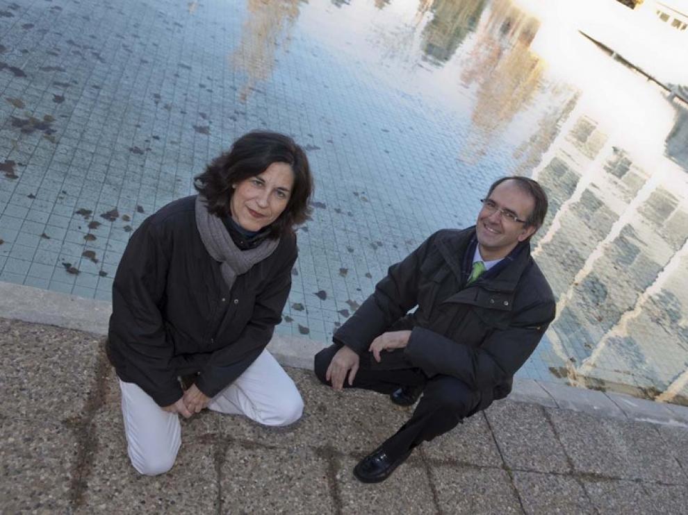 Pilar García Navarro, coordinadora del Grupo de Hidráulica Computacional de la Universidad de Zaragoza, y Manuel Liedana, de la empresa Inclam
