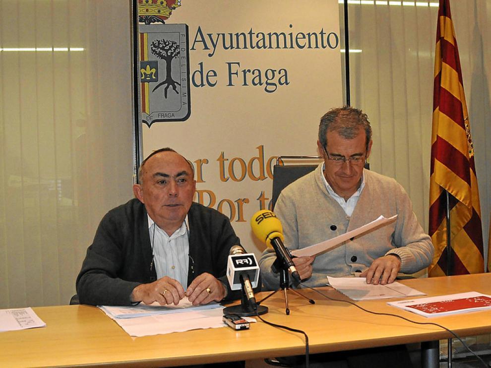 Antonio Martí (izquierda) y José Luis Moret, en la  presentación del borrador de presupuestos.