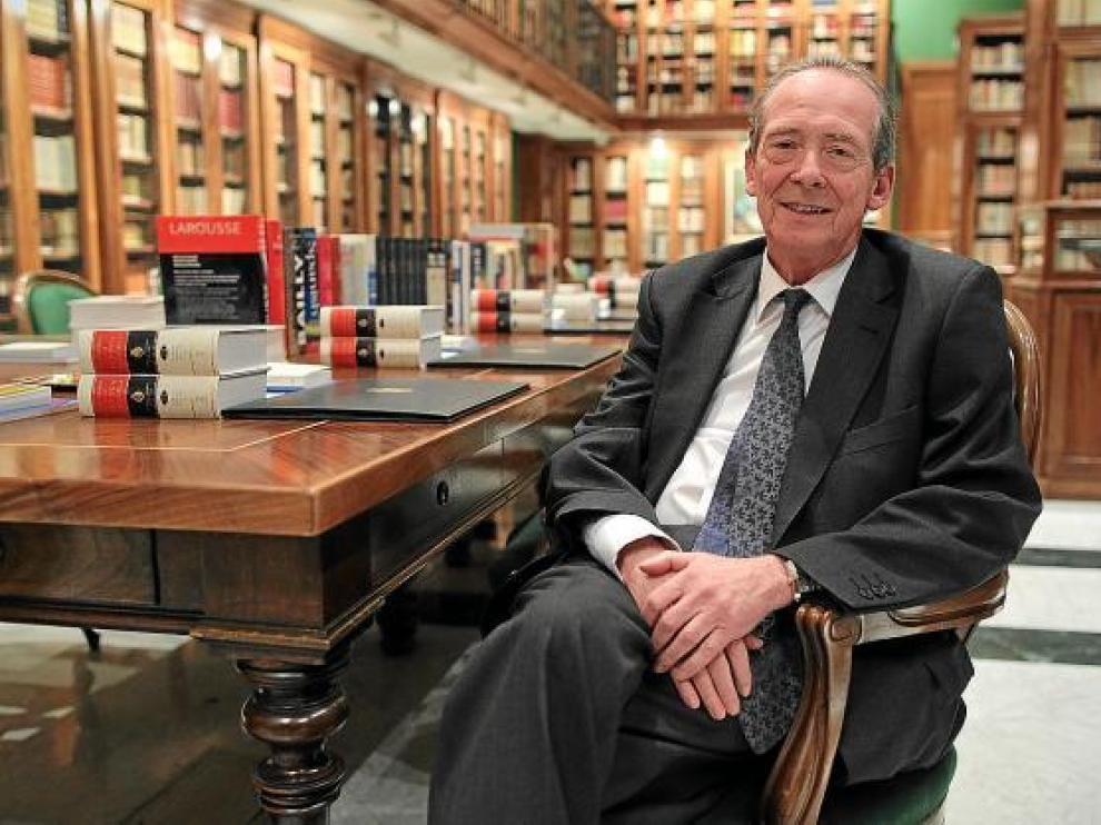 José Manuel Blecua, en la biblioteca de la RAE, momentos después de su elección.