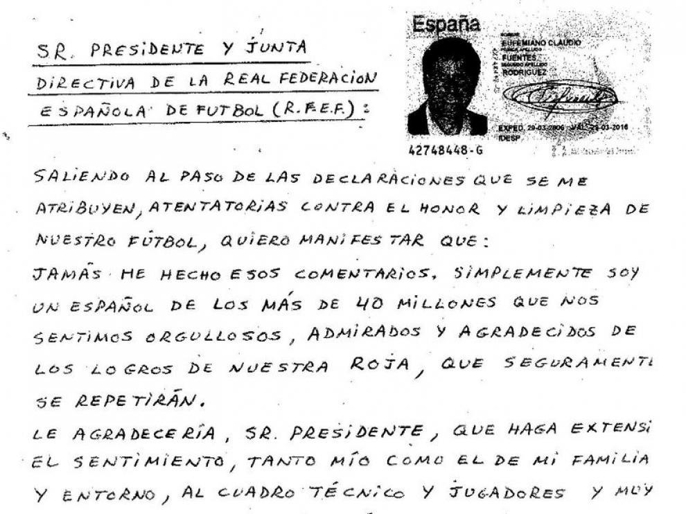 Carta enviada a Villar por parte de Eufemiano Fuentes.