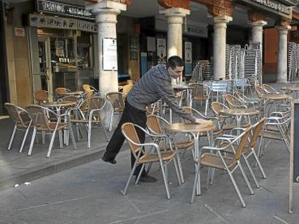 La plaza del Torico, ayer, uno de los puntos con más terrazas.