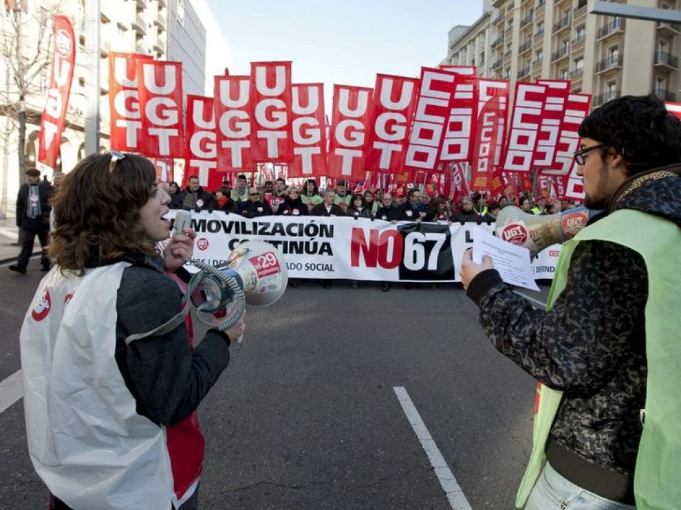 La manifestación, en el paseo de la Independencia.