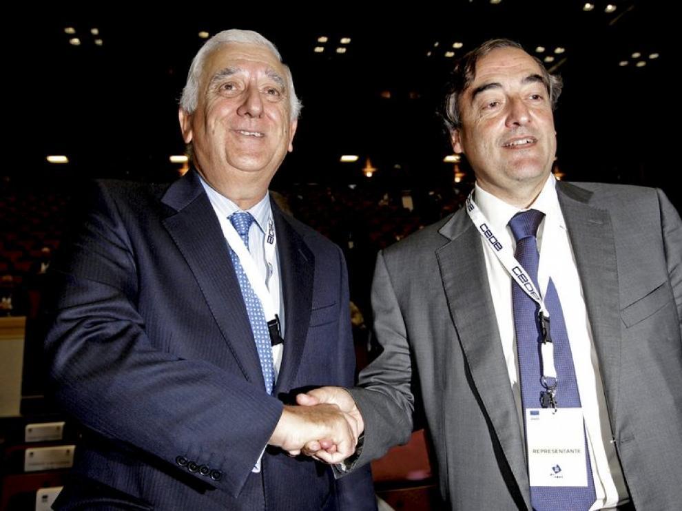 Rosell (a la derecha), junto a su contrincante Santiago Herrero
