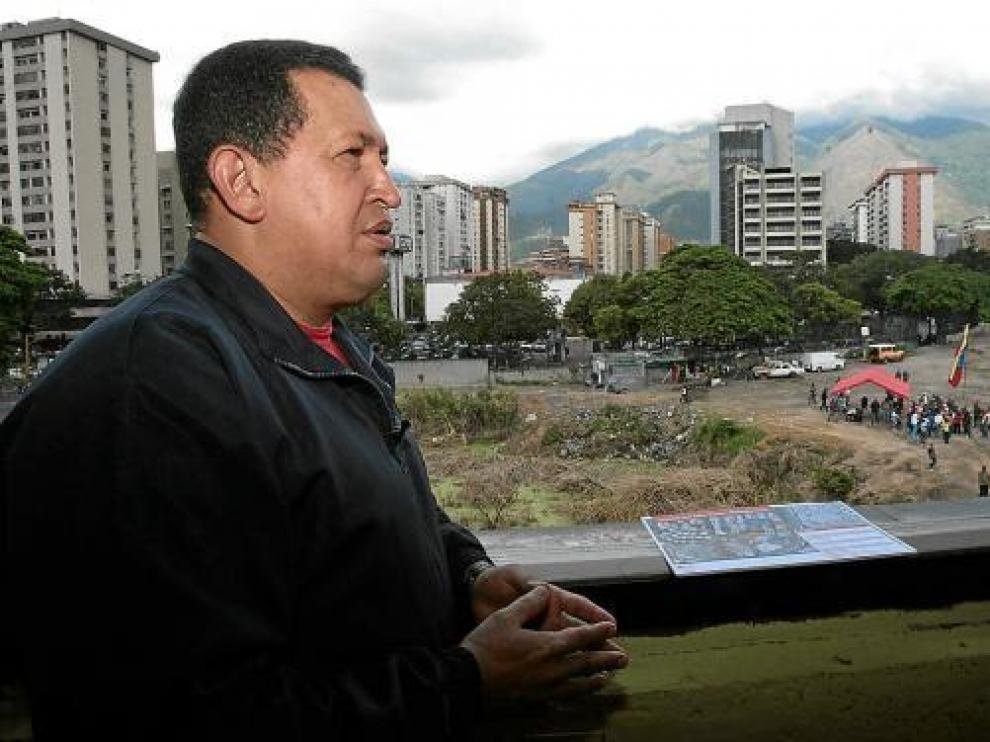 El presidente de Venezuela, Hugo Chávez, el pasado domingo en la ciudad de Caracas.
