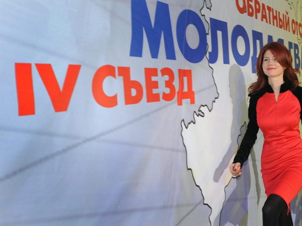 Chapman en su presentación como miembro de Rusia Unida.