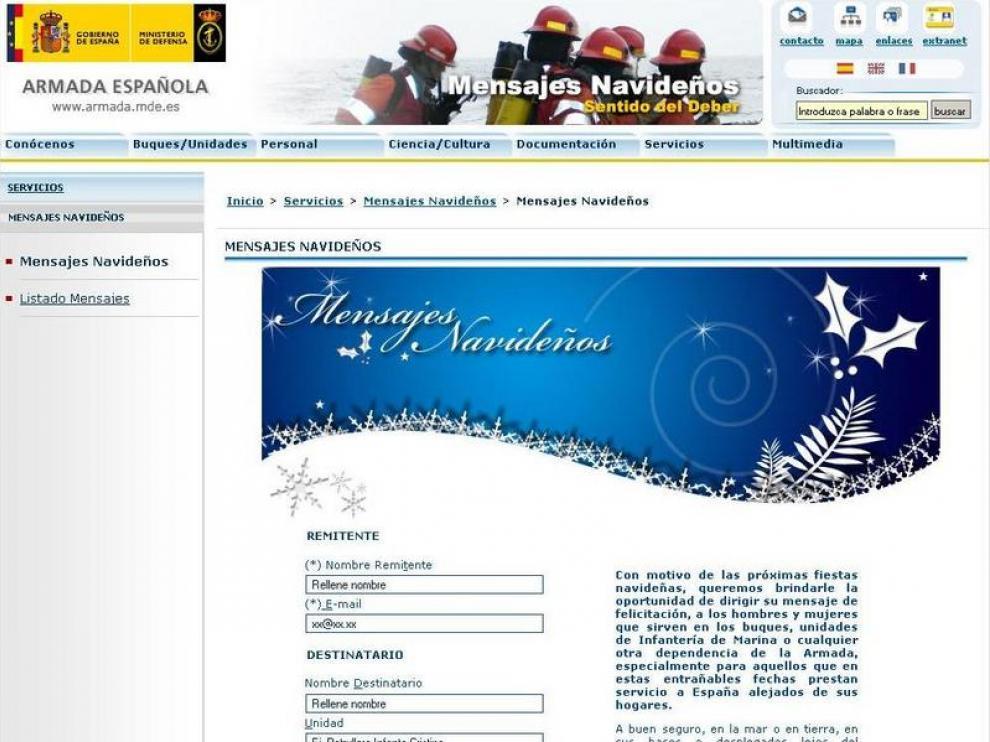 El espacio abierto en la web de la armada para felicitar las navidades a los militares