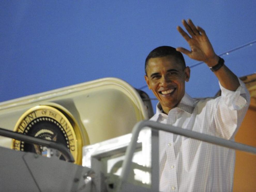 El presidente Obama a su llegada a Hawai.