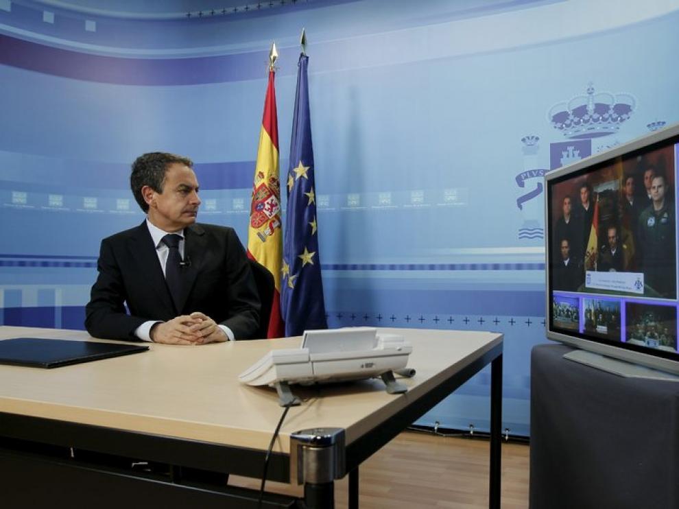 Videoconferencia de Zapatero desde la Moncloa