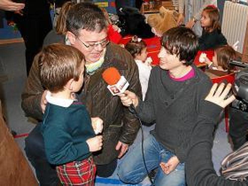 Una imagen de la grabación del programa en el Colegio Sansueña.