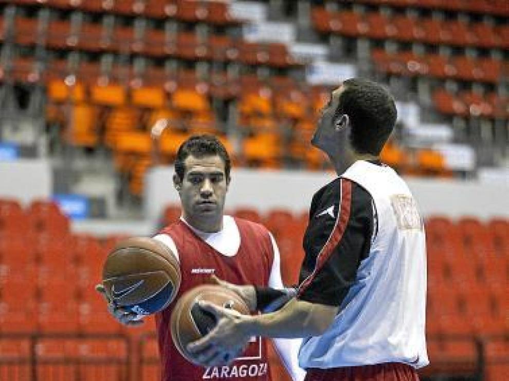 Cabezas y Aguilar, durante un entrenamiento.