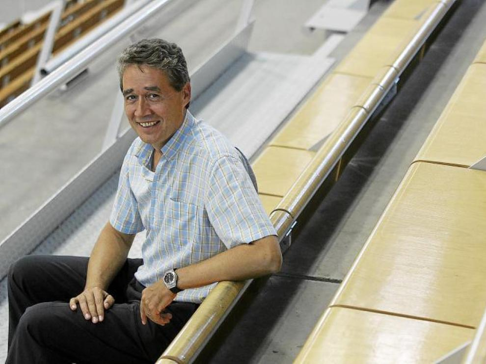 Pachi Giné, en una imagen de archivo tomada en el Palacio de los Deportes donde reconoce que ve los partidos con mucho sufrimiento.