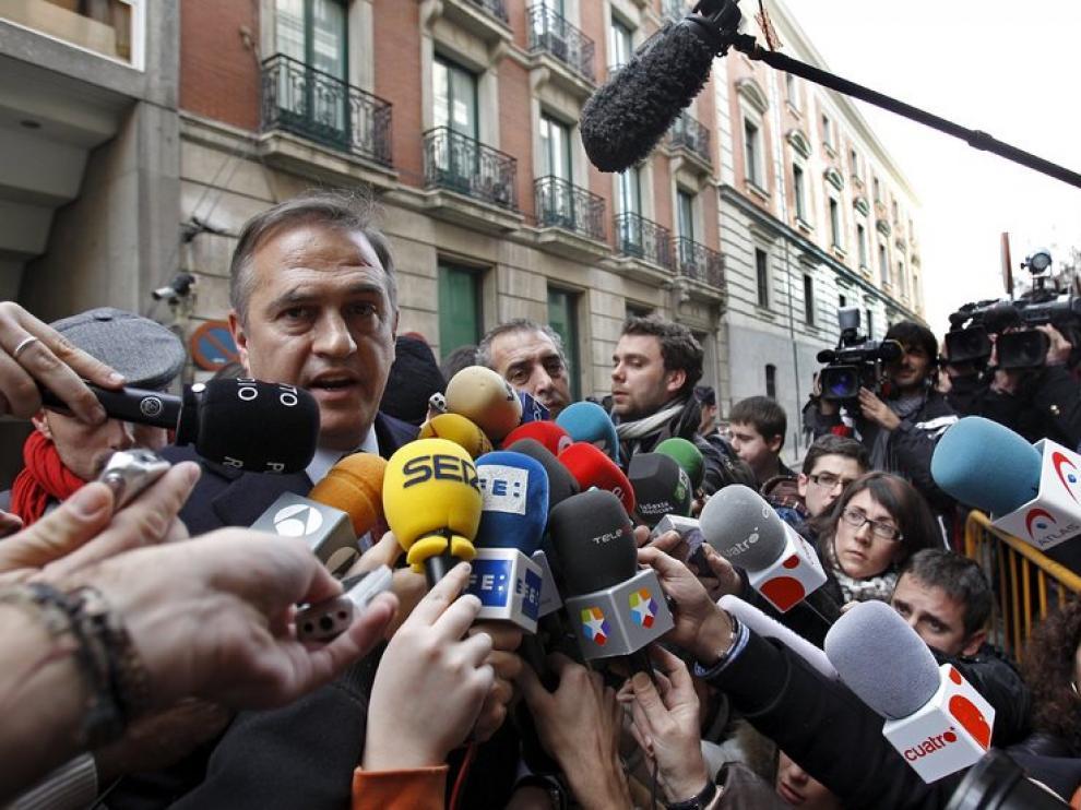 El presidente de la LFP, José Luis Astiazarán, después de las negociaciones con la AFE