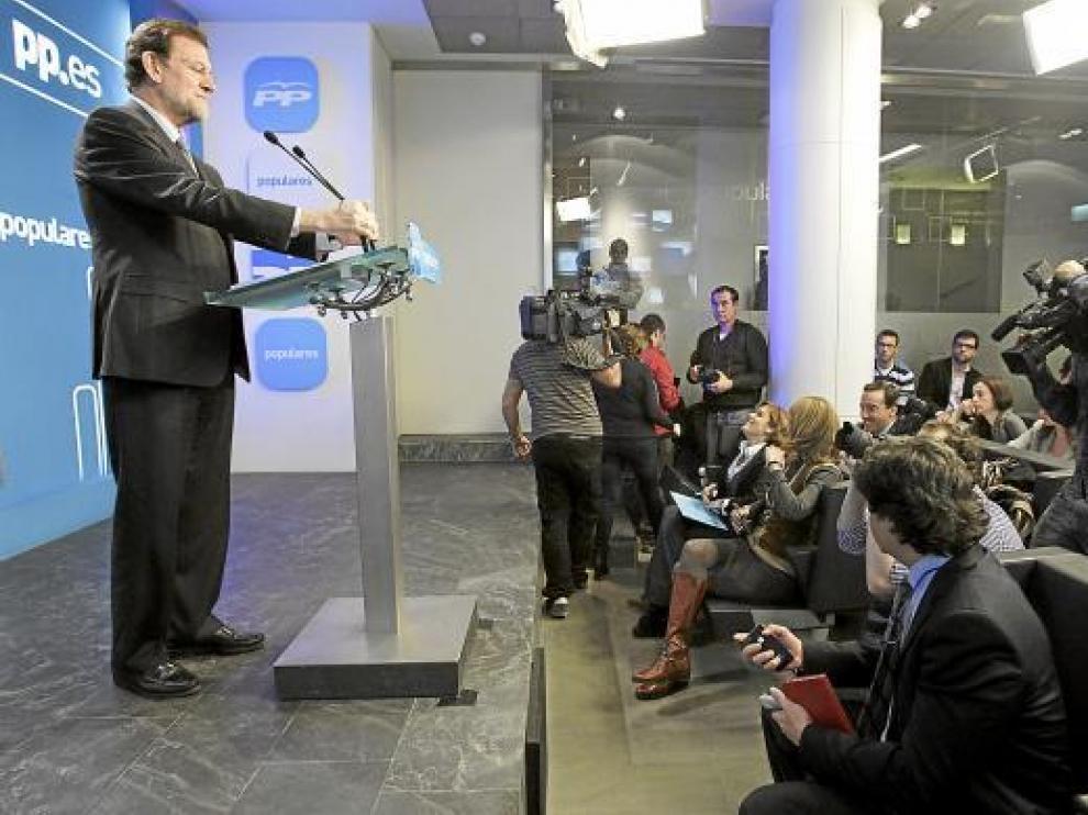 Rajoy, ayer durante su comparecencia ante los medios para hacer balance del año.