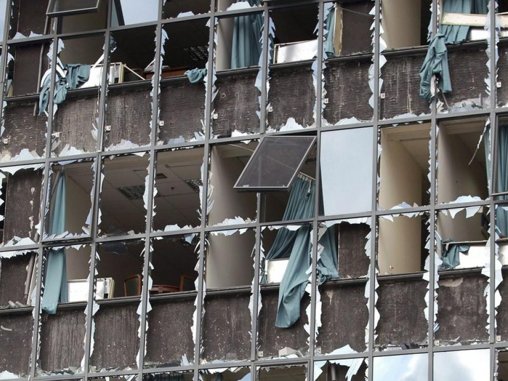 Estado de la fachada tras la deflagración.