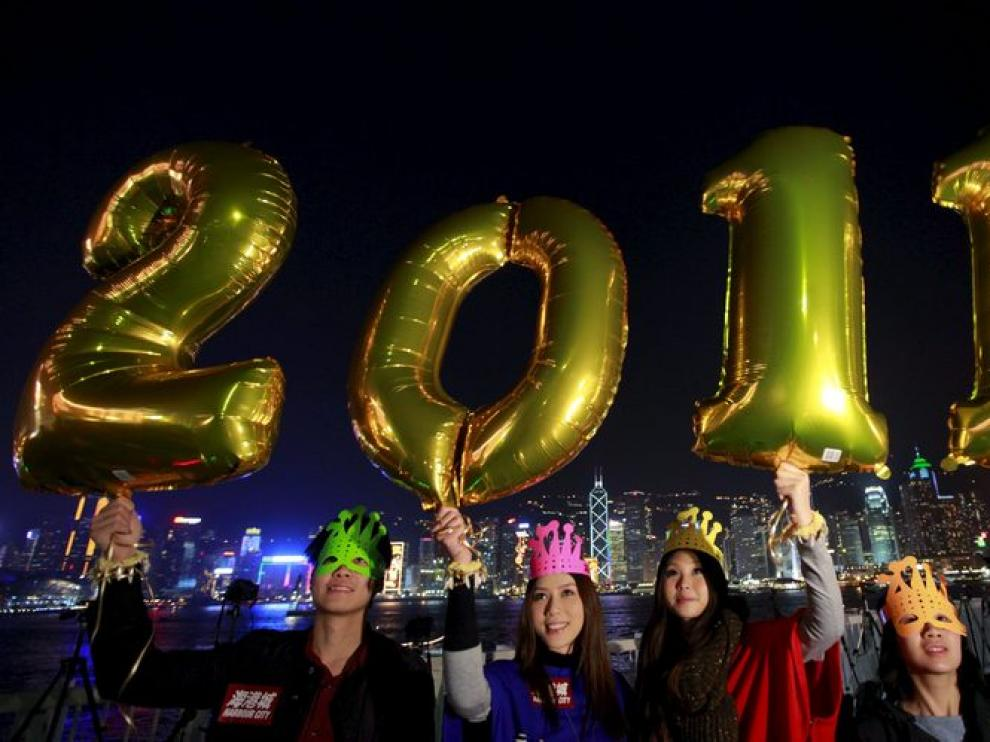 Celebración del nuevo año en Hong Kong.