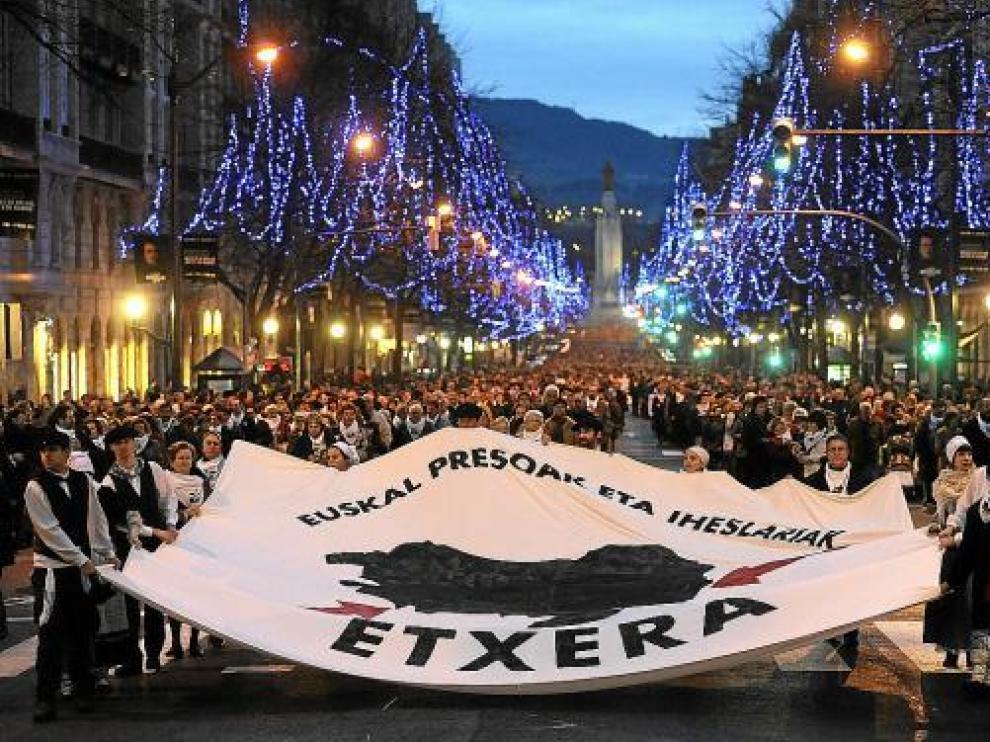 Manifestación organizada por Etxerat el 2 de enero de 2010, en la que se produjeron incidentes.