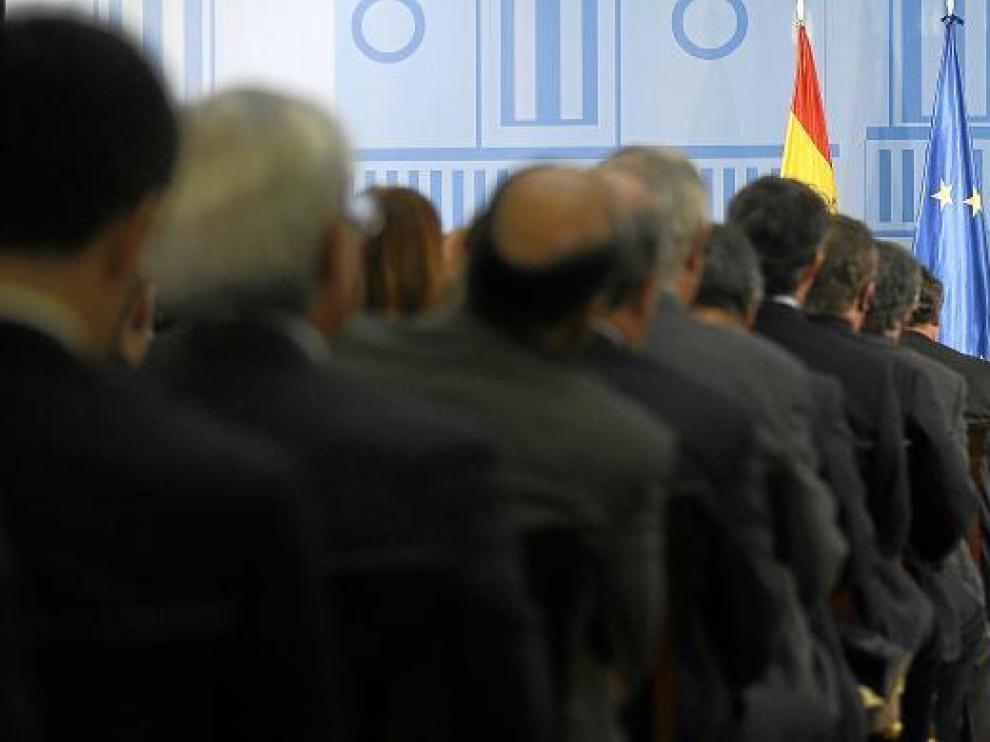 El presidente del Gobierno, José Luis Rodríguez Zapatero, durante su exposición de ayer en la Moncloa.