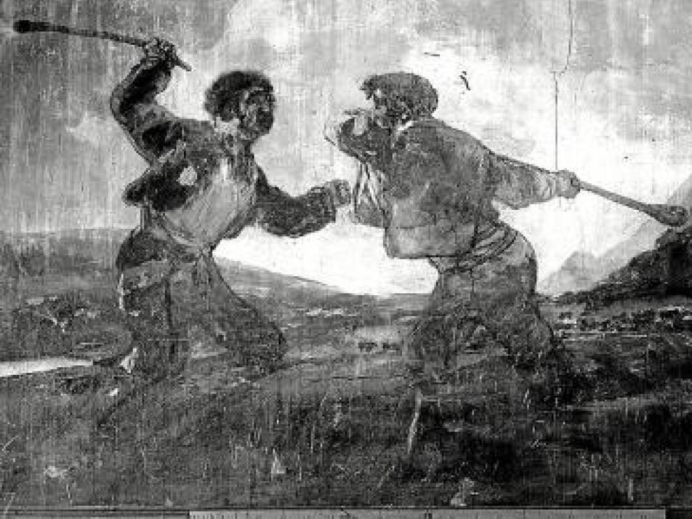 En la imagen en blanco y negro, tomada a finales del siglo XIX, se aprecian con alguna claridad las piernas de los dos personajes.