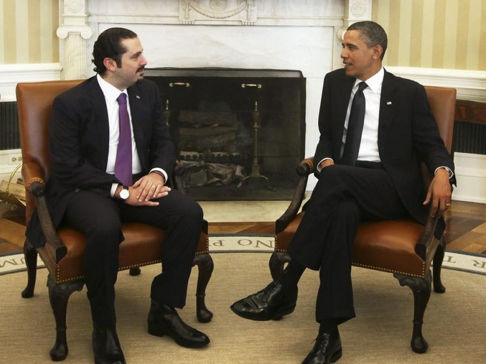 Hariri en su reunión con Obama.