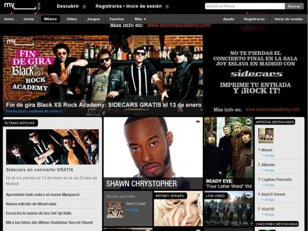 La actual imagen del portal MySpace, centrada en contenidos audiovisuales