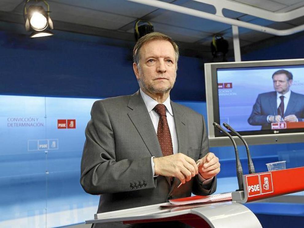 El secretario de Organización del PSOE, Marcelino Iglesias, en en la sede de su partido tras la reunión de la Ejecutiva del pasado lunes.