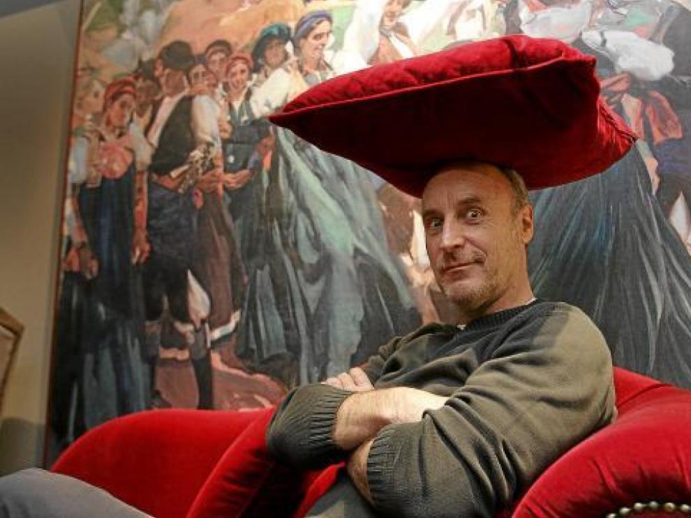 Paco Mur, de la compañía de teatro Tricicle, ayer en el hotel Sancho Abarca de Huesca.