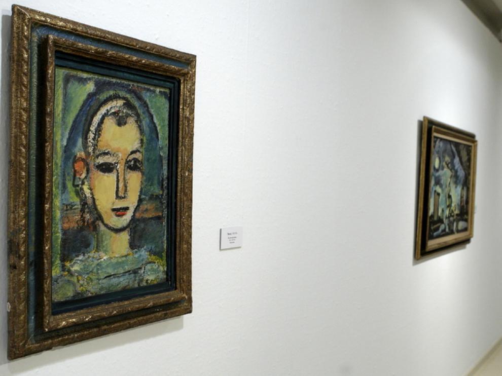 Obras de Roualt expuestas en el Patio de la Infanta de Ibercaja, en Zaragoza